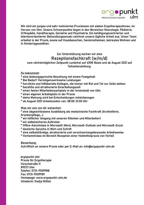 Rezeptionsfachkraft (m/w/d) in Ulm gesucht