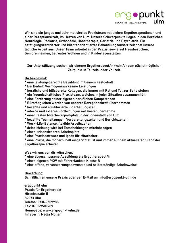 Ergotherapeut (m/w/d) in Ulm gesucht